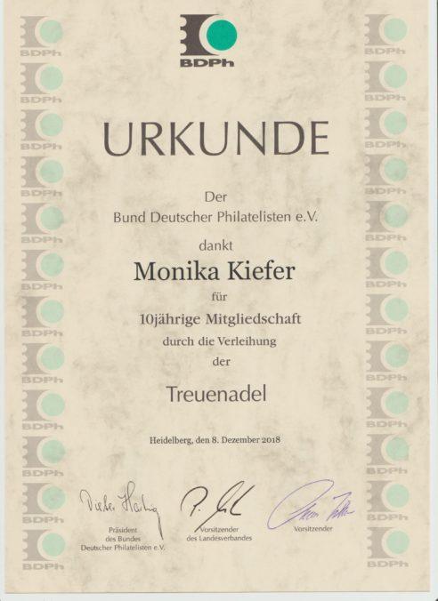 BDPh Urkunde für den Restaurator Kiefer